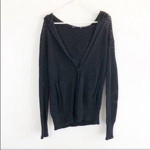 T Alexander Wang Black Eyelet Hooded Sweater